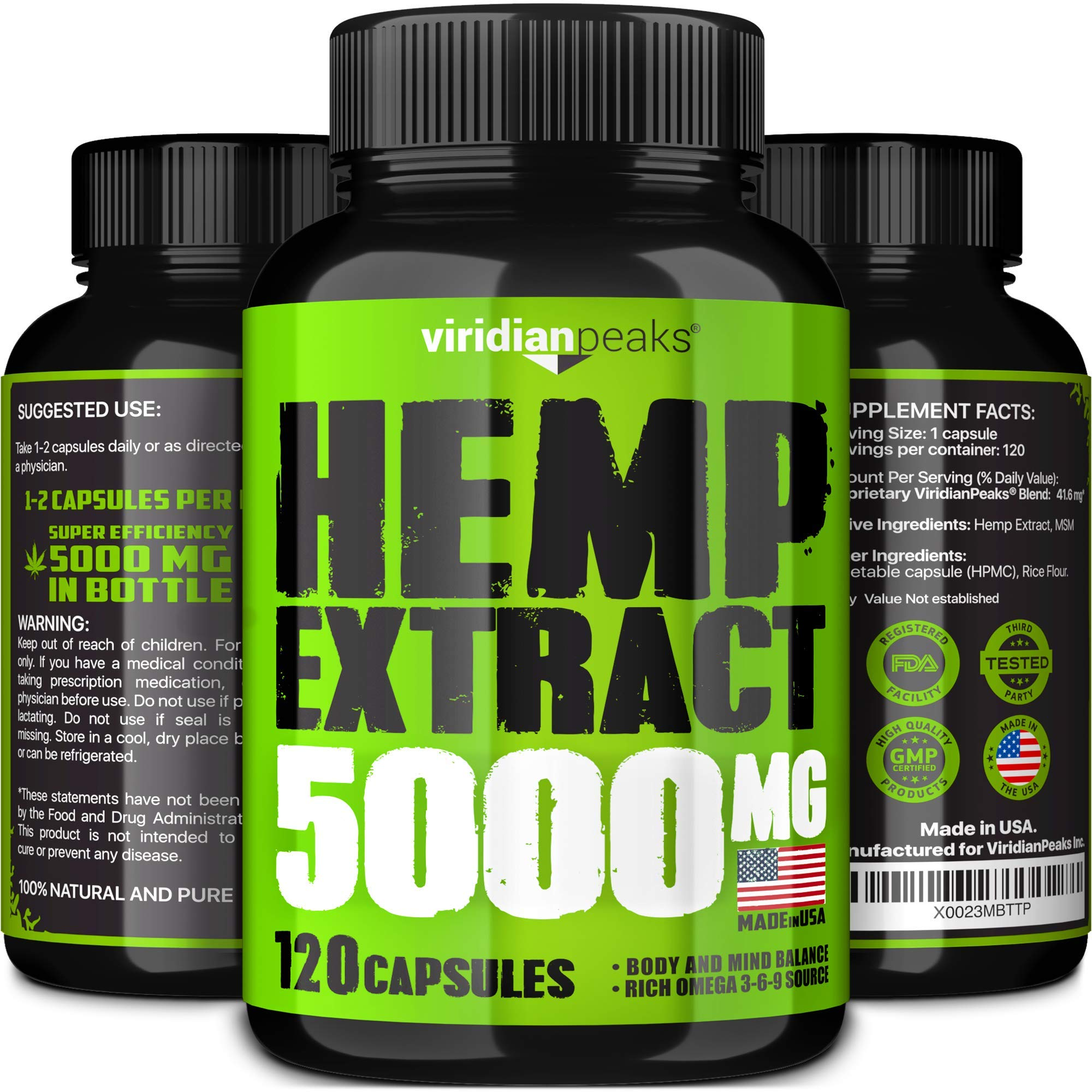 Hemp Extract Capsules - 5000MG - Supplement for Anxiety & Stress Relief - 100% Grown & Made in USA - Premium Quality Immune Support - Omega 3-6-9 Source - Insomnia Relief & Mood Boost by ViridianPeaks