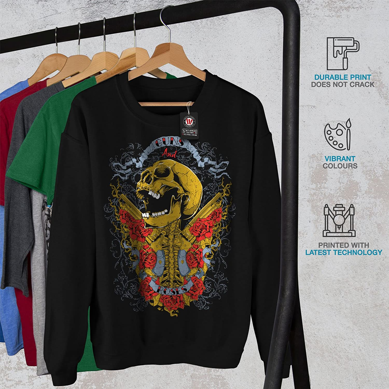 Music Casual Jumper wellcoda Guns and Roses Skull Mens Sweatshirt