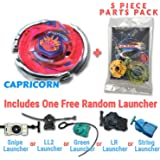 Storm Capricorn BB-50 Beyblade Starter Set Includes Free Gifts - 1 Launcher, 1 Random Stats Card, & 5 Piece Beyblade Parts Pack - All from Metal Fusion, Metal Fury, & Metal Masters Series