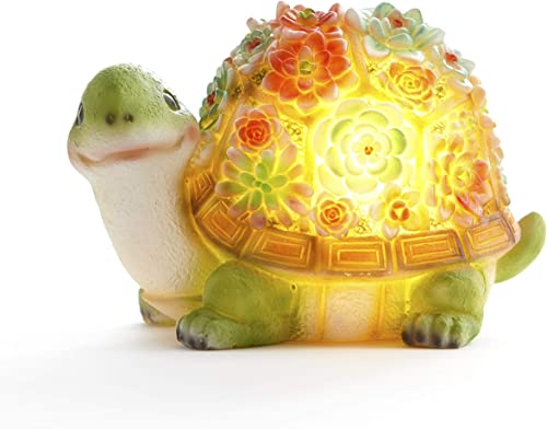 The Lakeside Collection Solar Garden Turtle Statue with Artificial Succulents – Light Up Accent