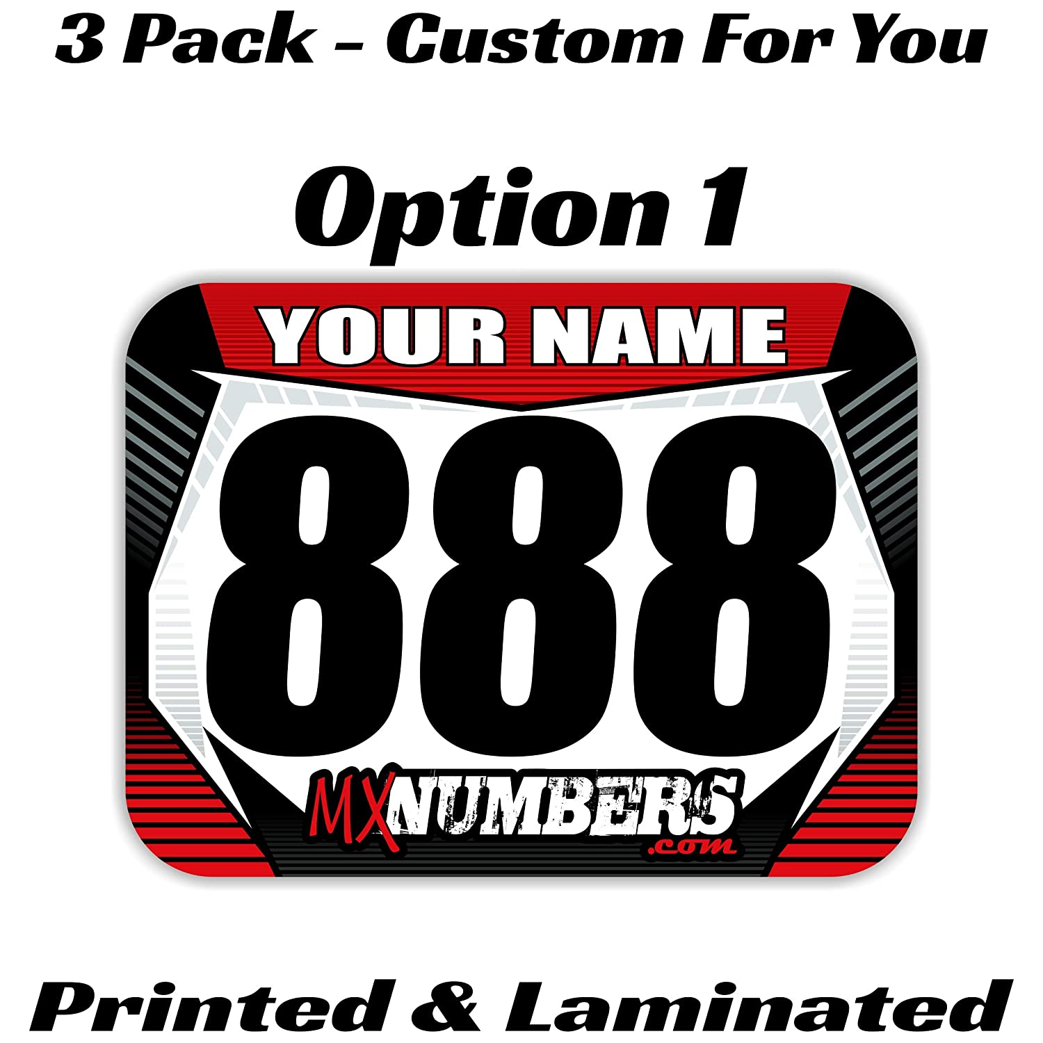 Size /& Colors MX /& ATV Number Plate Decals Number Set of 3 Graphics Custom with your Name