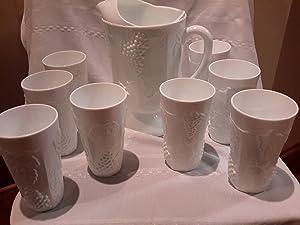SET OF 6 - Vintage Anchor Hocking Hobnail Milk Glass 65 oz Juice Pitcher & Tumbler Glasses