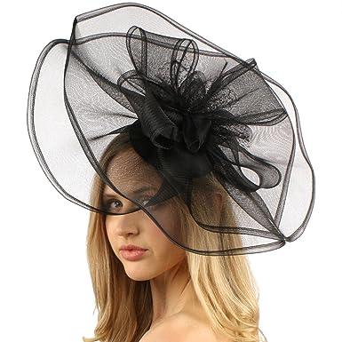 29c04f81461 Big Sinamay   Organza Fascinators Headband millinery Cocktail Derby Hat  Black at Amazon Women s Clothing store