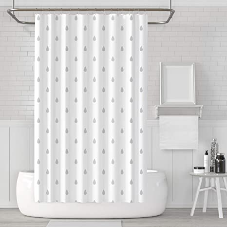 Laco Rich Decorative Shower Curtain Raindrops White And Grey Fabric Shower Curtain Set With Hooks Washable And Waterproof Creative And Funny Shower Curtain For Bathroom With Size 72x72 Inches Home