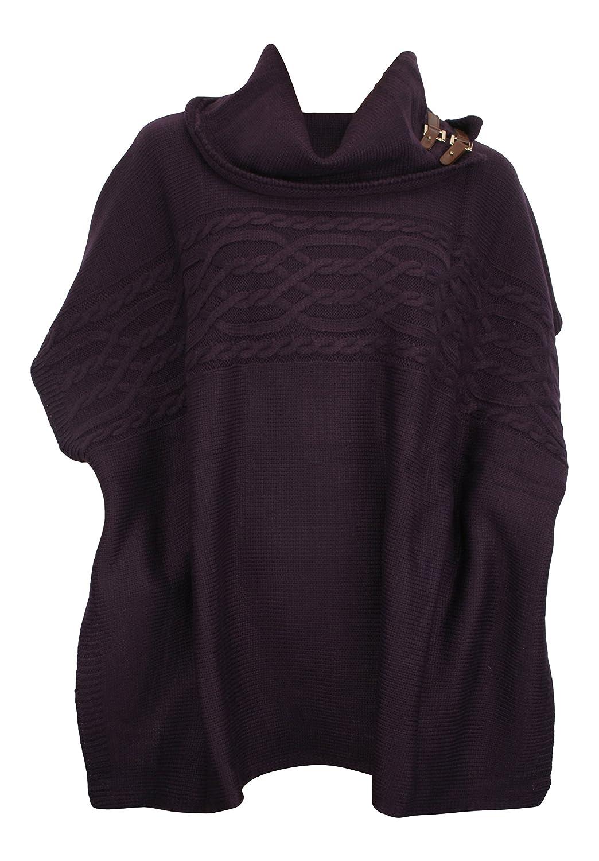 Pia Rossini April Cable Knit Poncho Purple