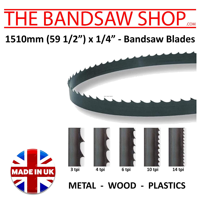 1510mm (59 1/4') x 1/4' (6mm) Wide Wood Cutting Bandsaw Blades (1510 mm (59 1/2') 10 TPI)