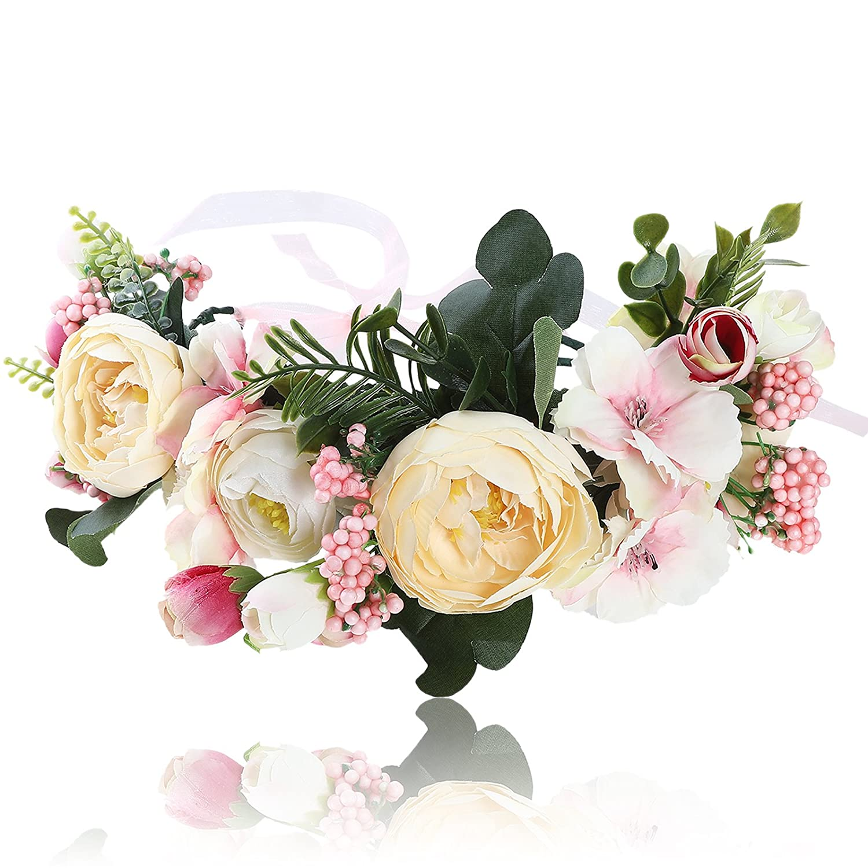 Fashion Women/'s Big Rose Flower Headband Crown Wedding Hair Garland Hoop Wreath