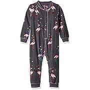 PJ Salvage Kids Baby Girls Romper Flamingo pj, Charcoal, 3/6 mo
