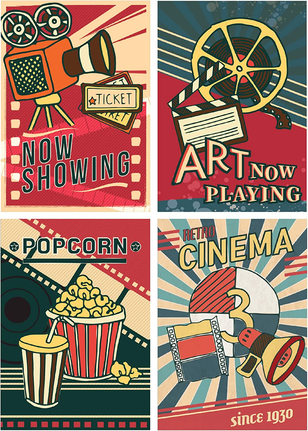 "SCENE: YOURSELF Movie Theater Decor, Movie Night Decorations, Movie Theme Party Decorations, Theater Room Decor, 11.7"" x 16.5"", Unframed, Paper, Matte Lamination, Set of 4 Posters, Multiple"