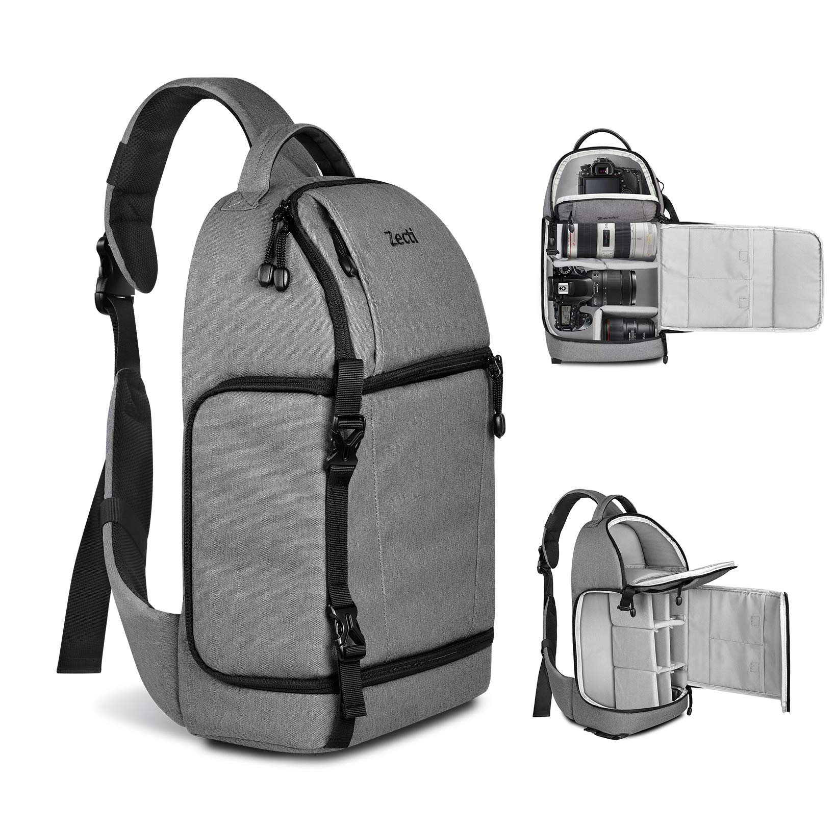 Zecti Sling Camera Bag for DSLR Camera (Canon Nikon Sony Pentax Olympus and etc.) Gray by Zecti