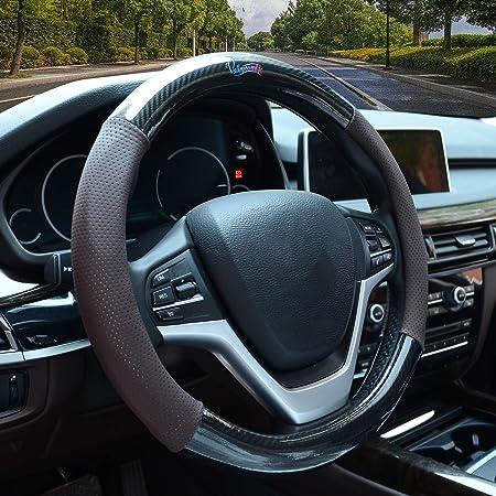 Valleycomfy Lenkradhülle Aus Karbonfaser Universal 38 1 Cm Atmungsaktiv Rutschfest Geruchsfrei Mit Pu Leder Für Auto Lkw Suv Auto