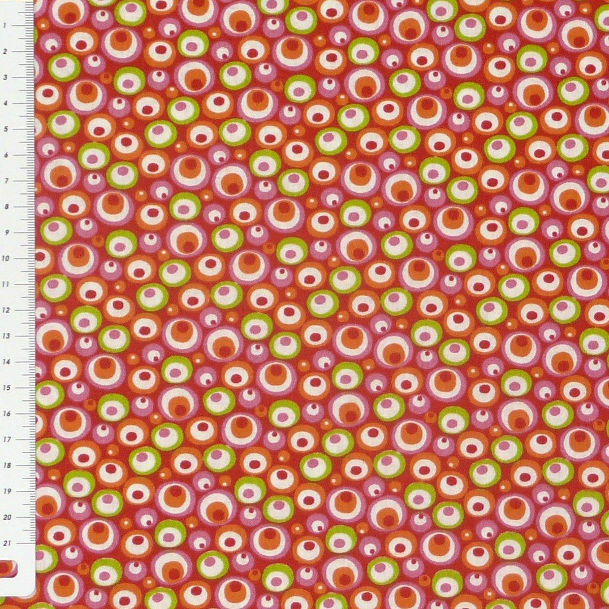 Baumwollstoff Stoff Meterware Kreise rot grün rosa orange weiß 1,6m Breite