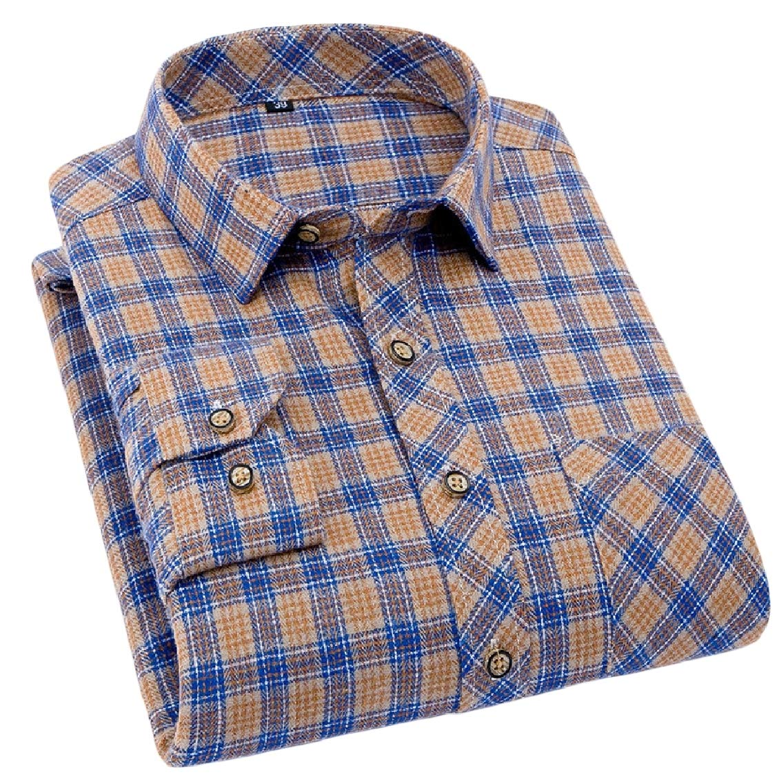 Sweatwater Mens Long Sleeve Checkered Tops Turn Down Button Up Shirts