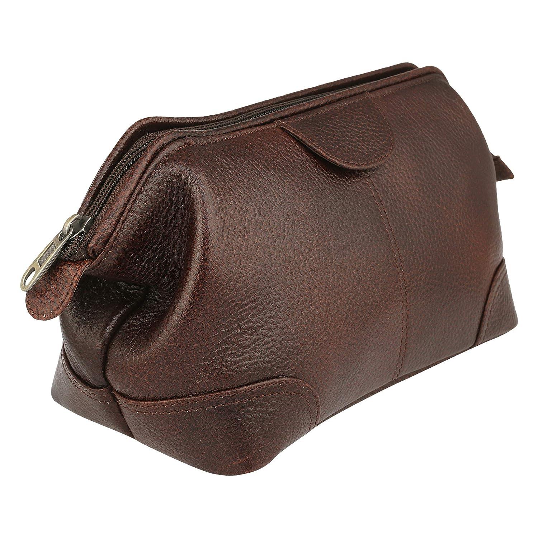 669d0425c18a Amazon.com : Travel Organiser Brown Toiletry Bag Made of Genuine ...