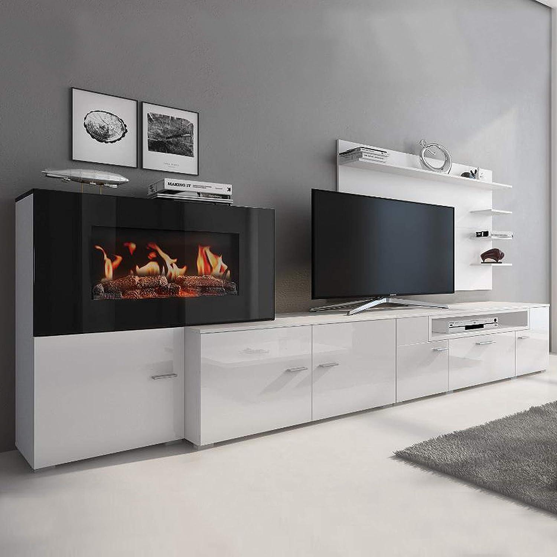 Muebles de salon con chimenea de bioetanol