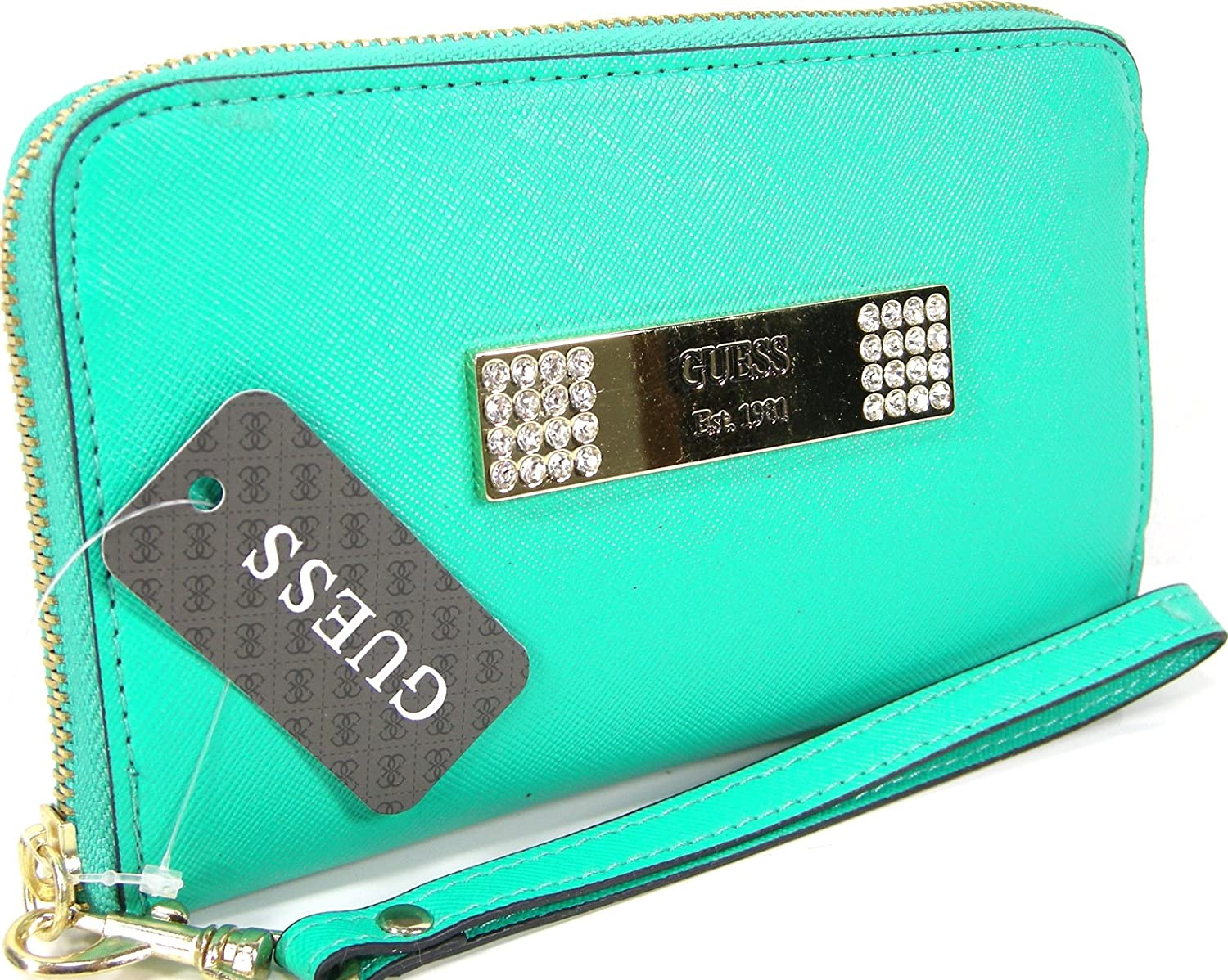 New Guess Logo Wristlet Purse Hand Bag Turquoise Saffiano Cell Phone Case