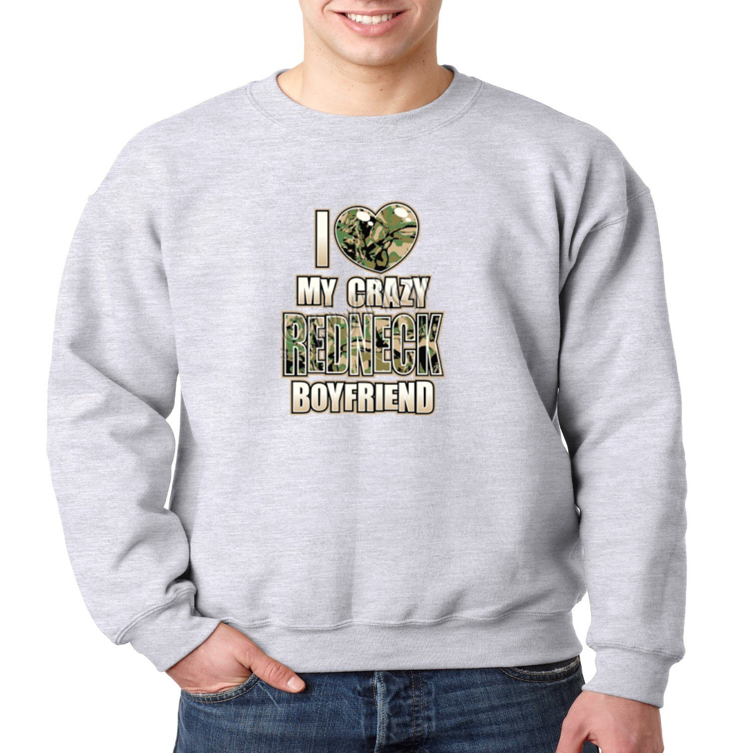 Juiceclouds | Crewneck Sweatshirt I Love My Crazy Redneck Boyfriend (Heather Gray, S)