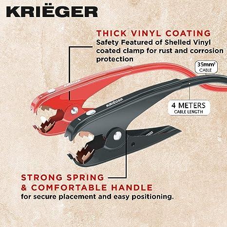 Include Borsa per Il Trasporto K KRI/ËGER Krieger Cavi di Avviamento per Auto 4 Metri 35mm/² 800 Amp Cavi Batteria Perfetti per Motori a Benzina Fino a 5500cc e Diesel Fino a 3000cc