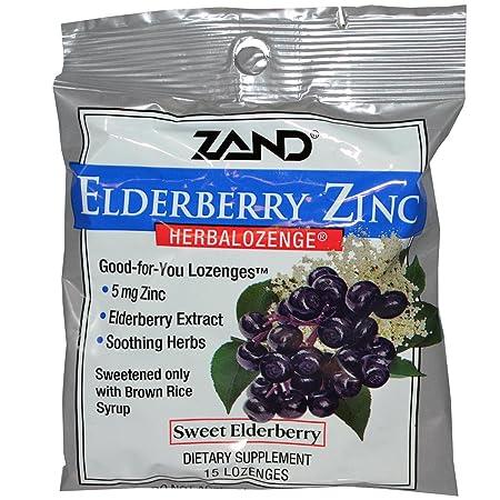 Zand Herbalozenge, Sweet Elderberry Zinc, 15 Count Pack of 12