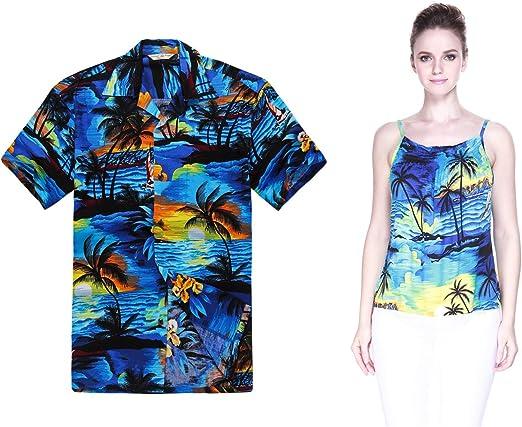 Par a Juego Hawaiian Luau Outfit Aloha Camisa y Correa de Espagueti Top en Patrones de Atardecer en 2 Colors