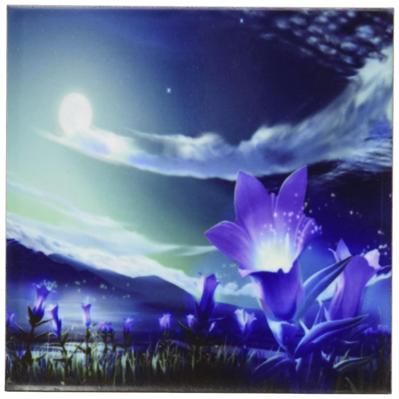4 by 4-Inch Rikki Knight Purple Flowers on Glorious Fantasy Night Sky Design Art Ceramic Tile