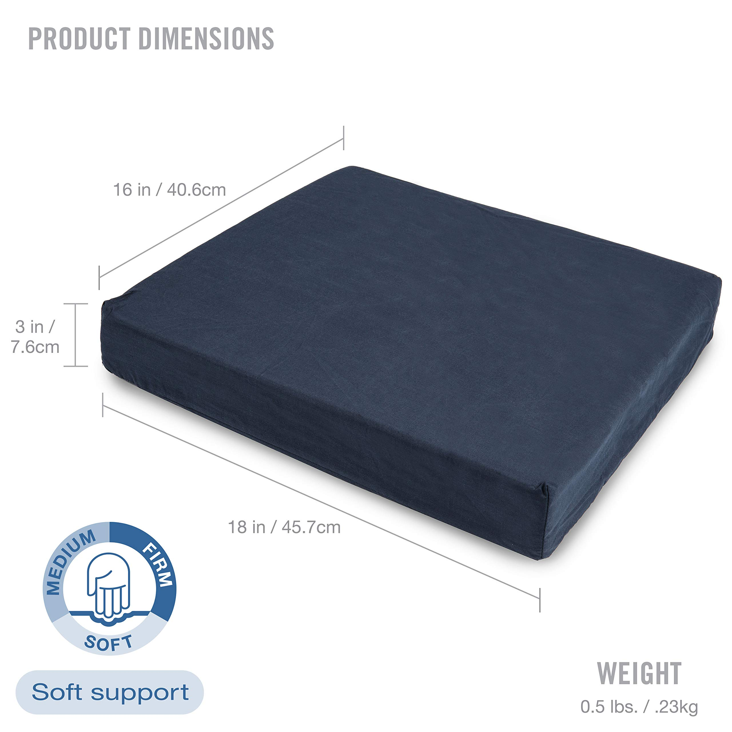 DMI Polyfoam Wheelchair Seat Cushion, Standard Foam Seat Cushion for Chairs, Adds Support, Comfort, Reduces Pressure and Stress on Back, Navy, 3 x 16 x 18 inches