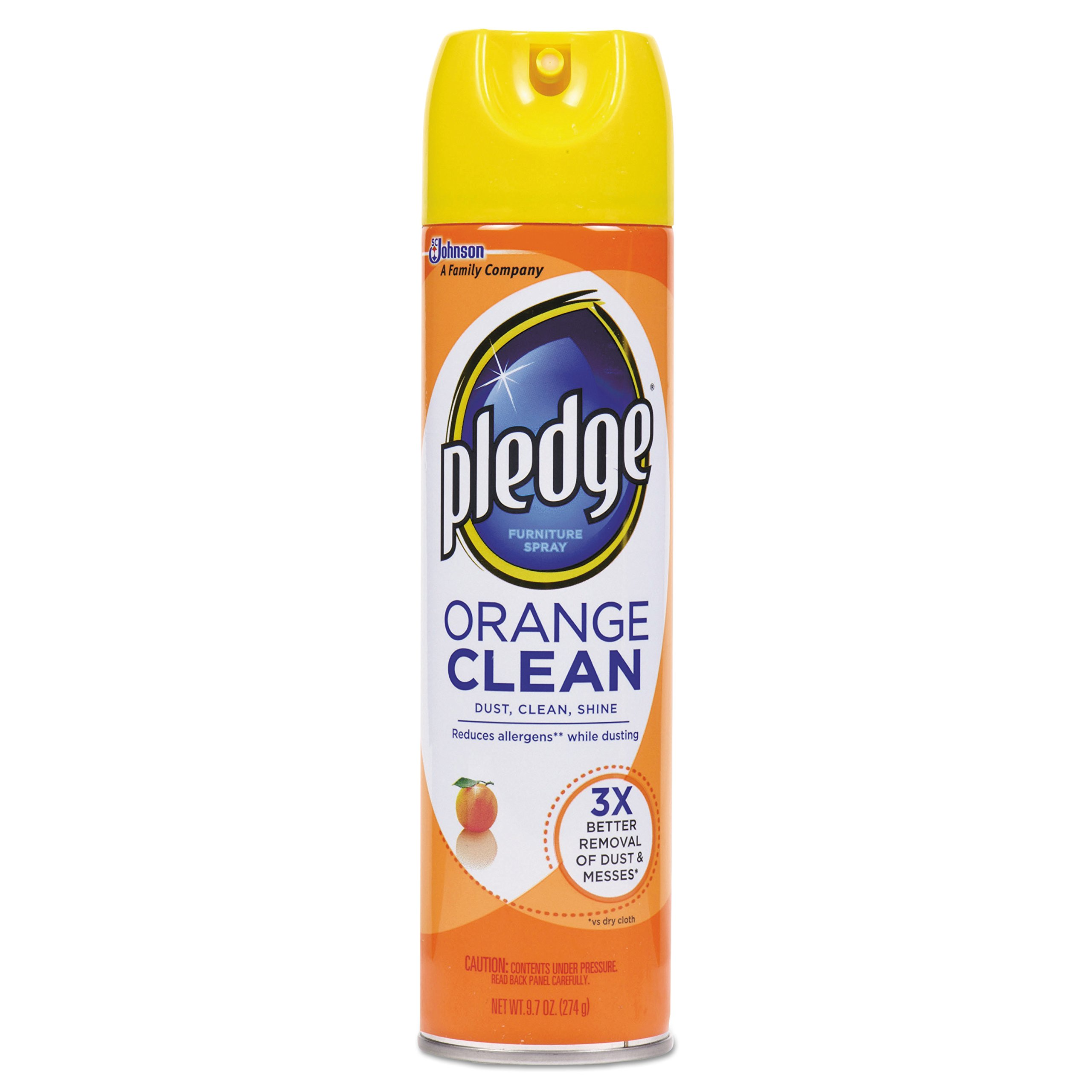 Pledge 697834 Furniture Polish, Orange Clean Scent, 9.7 oz Aerosol (Case of 12)