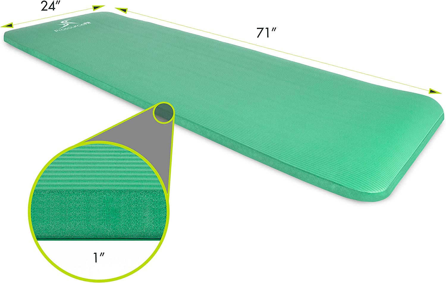 """71-inch Long High Density Exercise Mat with Comfort Foam and Carrying Strap 13mm or 1 25mm ProsourceFit Extra Thick Yoga and Pilates Mat /½/"""""""