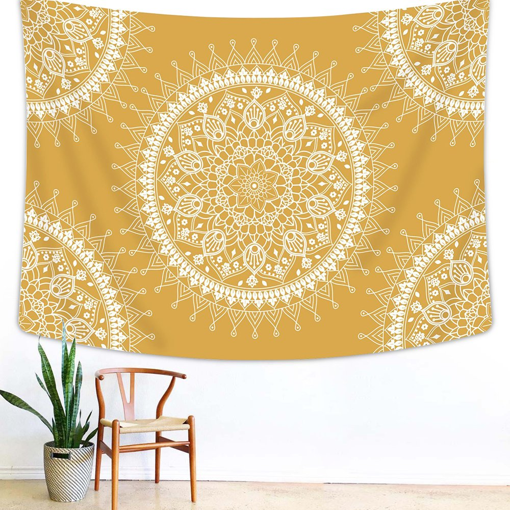 Arfbear Bohemian Tapestry, Mandala Hippie Popular Wall Hanging Tapestry Warm Golden Yellow Orange Beach Blanket (medium-59 x 51 in)