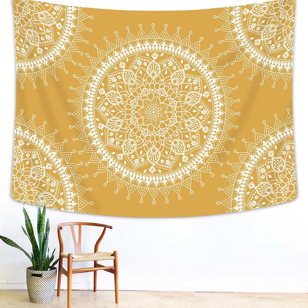 Arfbear Bohemian Tapestry, Mandala Hippie Popular Wall Hanging Tapestry Warm Golden Yellow Beach Blanket (medium-59 x 51 in) by Arfbear