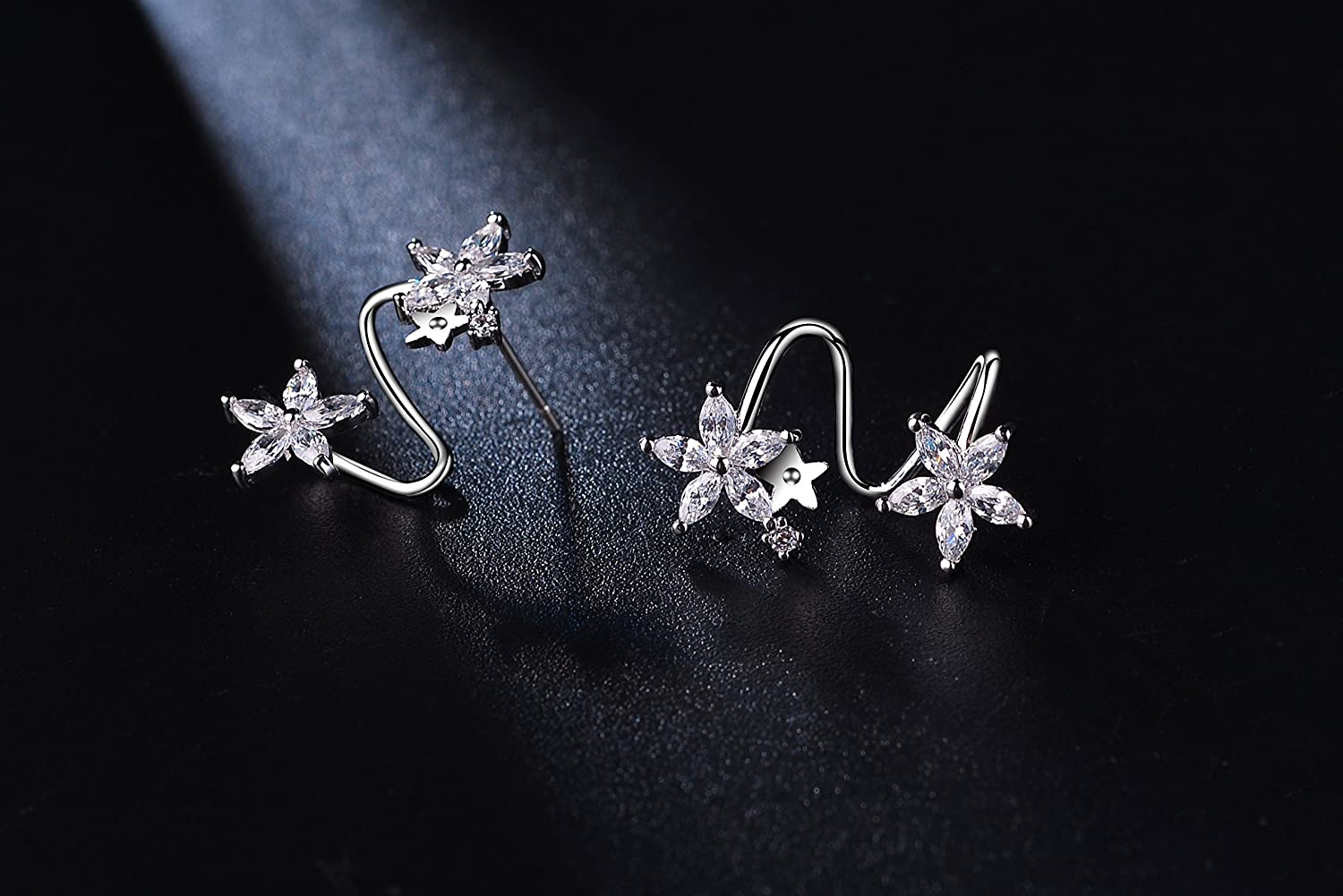 Aganippe Silver Color Flower Stud Earrings With Cubic Zircon Fashion Star Stud Earrings for Girls