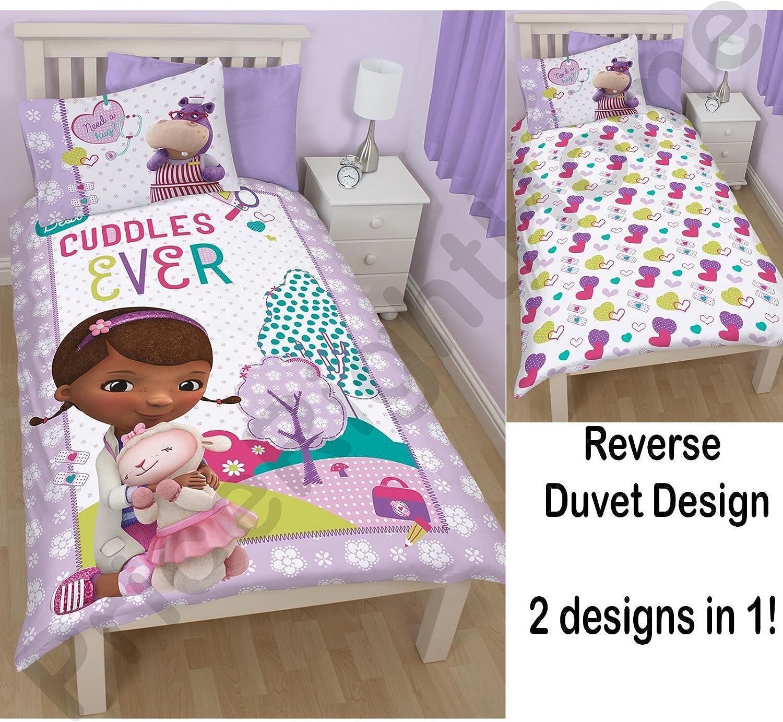Single Bed Multicoloured Disney Doc McStuffins Childrens Girls Hugs Reversible Duvet Quilt Cover Bedding Set