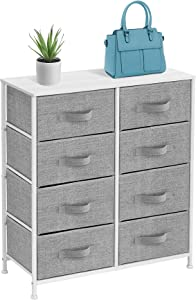 Sorbus Dresser with 8 Drawers - Furniture Storage Chest Tower Unit for Bedroom, Hallway, Closet, Office Organization - Steel Frame, Wood Top, Easy Pull Fabric Bins (White/Gray)