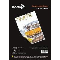 KOALA Papel Fotográfico Láser Brillante de Doble cara, A3, 200 g/m², 100 hojas, para impresoras LASER. Adecuado para…