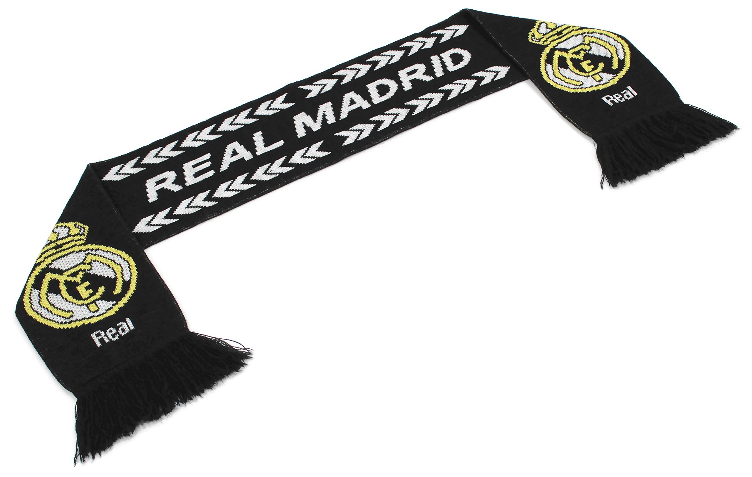 High End Hats ''Official World Soccer Team Scarf Collection'' Double Weave Head Scarf for Men or Women, Real Madrid with Logo, Black
