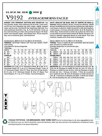 Vogue Patterns 9192 A5 de Costura para Top Bañador Inferior y Tapa ...