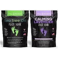 DAILY REMEDY Foot Soaks - Variety Pack of 2 - Tea tree oil & Calming Lavender soak - for Toenail Fungus, Athletes Foot…