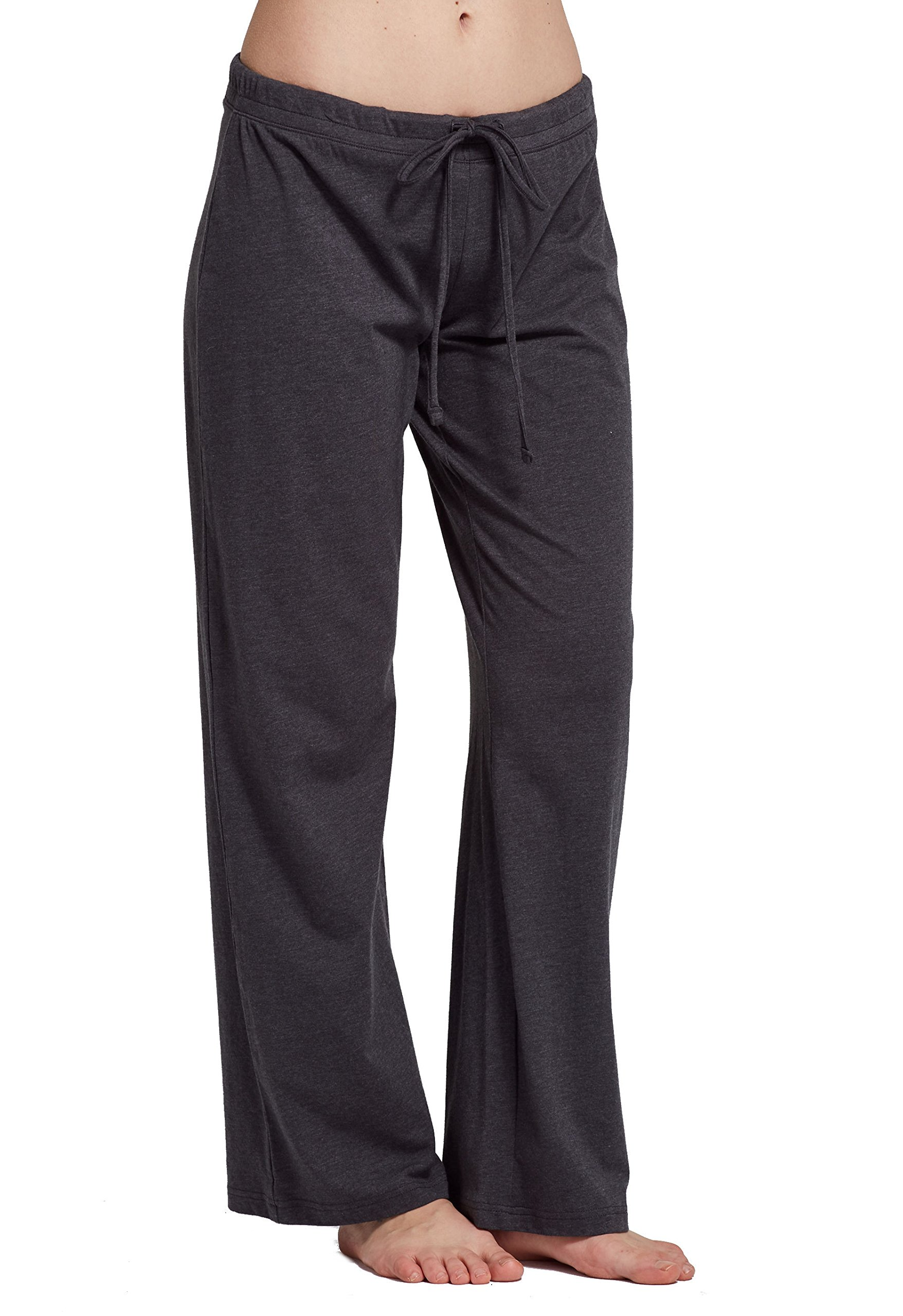 CYZ Women's Basic Stretch Cotton Knit Pajama Sleep Lounge Pants-Charcoal-L