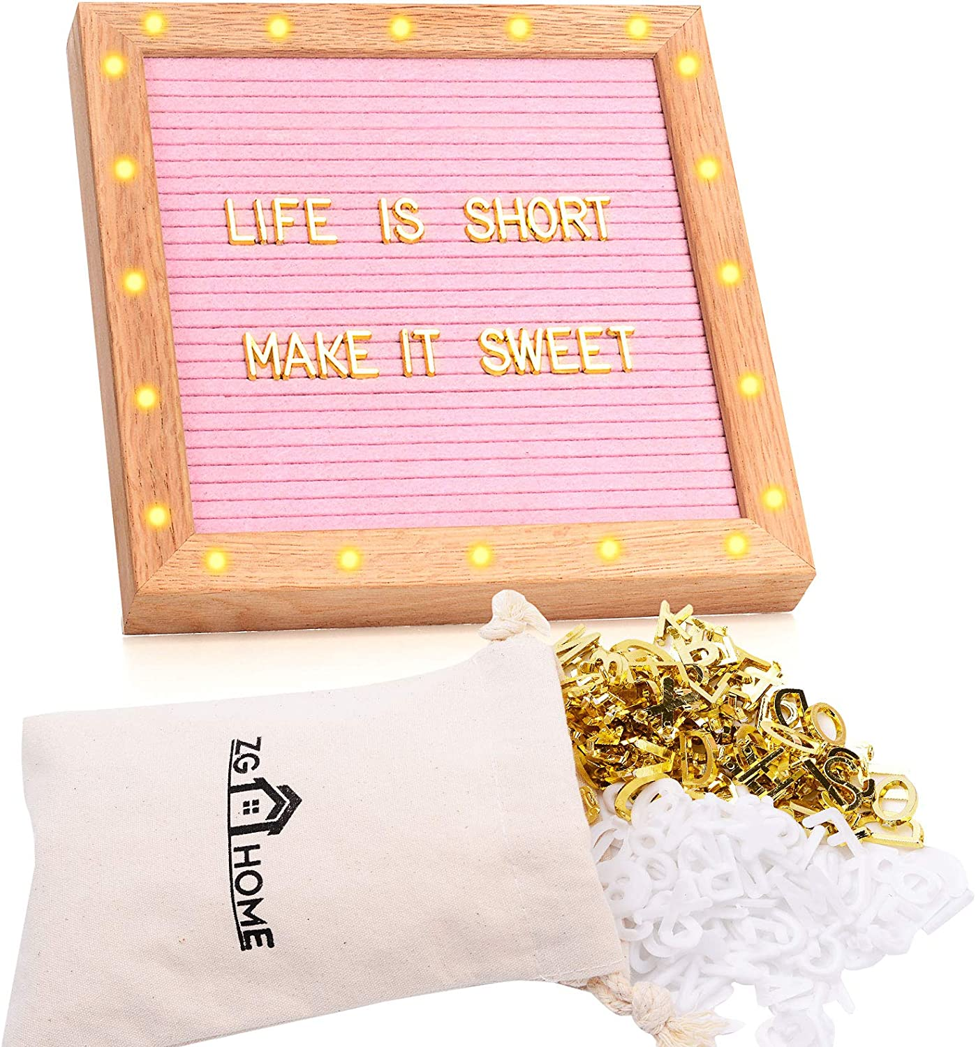 ZG Home LED Lights Felt Letter Board, 317 Golden and White Precut Letters, Numbers, Emojis, and Symbols, 1 Inch Wide Oak Wood Frame with Built-in Stand and Canvas Bag (Pink)