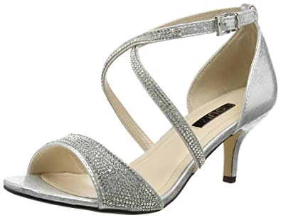 1434a4dfdf Quiz Women's Shimmer Diamante Low Heel Open-Toe (Silver), 5 UK 38 EU ...