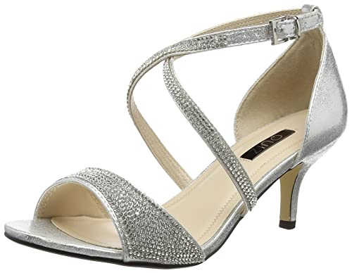 Quiz Women s Shimmer Diamante Low Open Toe Heels B06XDKP1YR