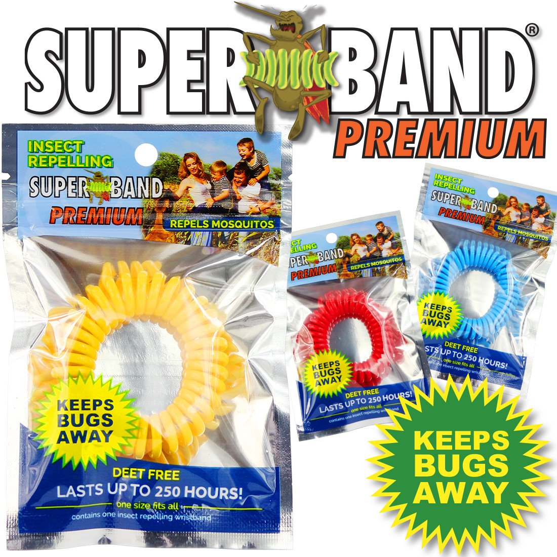 Superband Premium: Insect Repellent Bracelet - Blue Packaging - (50 Pack) by Superband