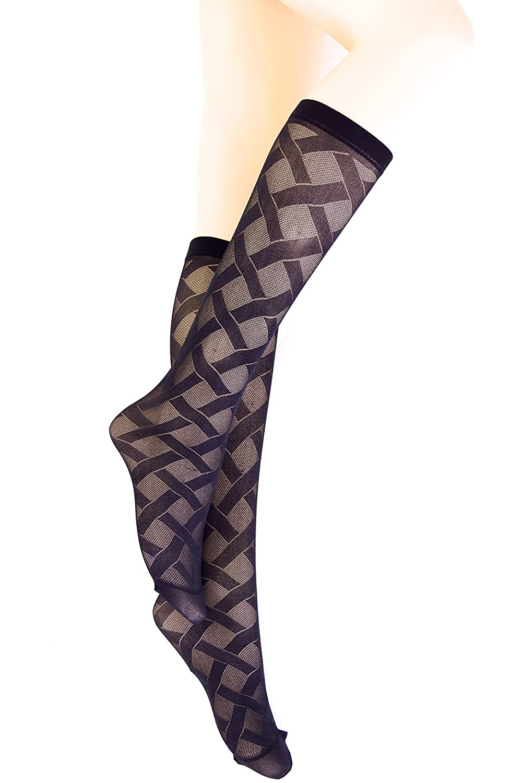 2 Pairs new girls womens black diamond pattern knee high pop socks hosiery One size 22