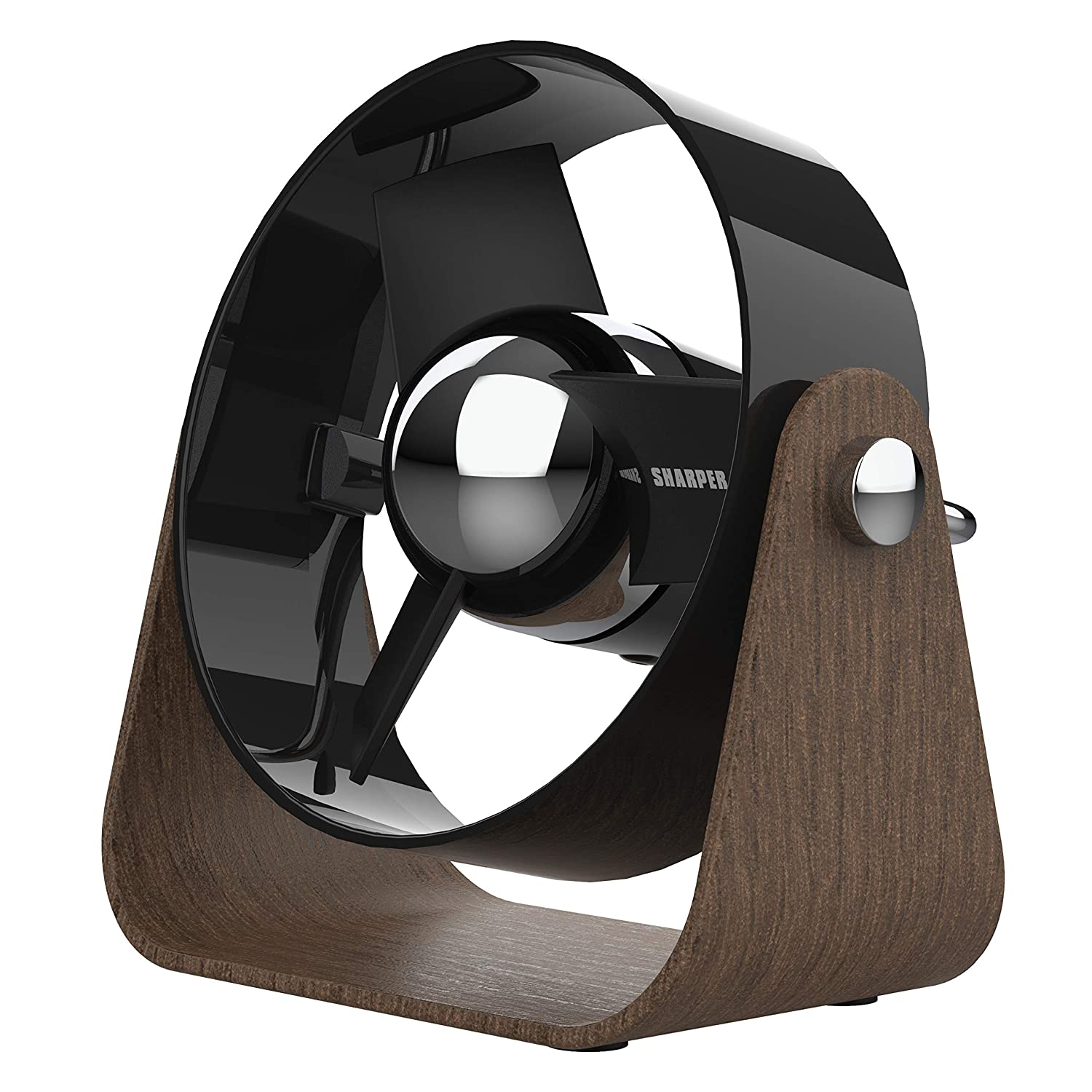 Sharper Image SBS1-SI Fan with Soft Blades, 2 Speeds, Touch Control, Quiet Operation, 5V Wall Adapter, 6 ft. USB Cable, Black/Walnut