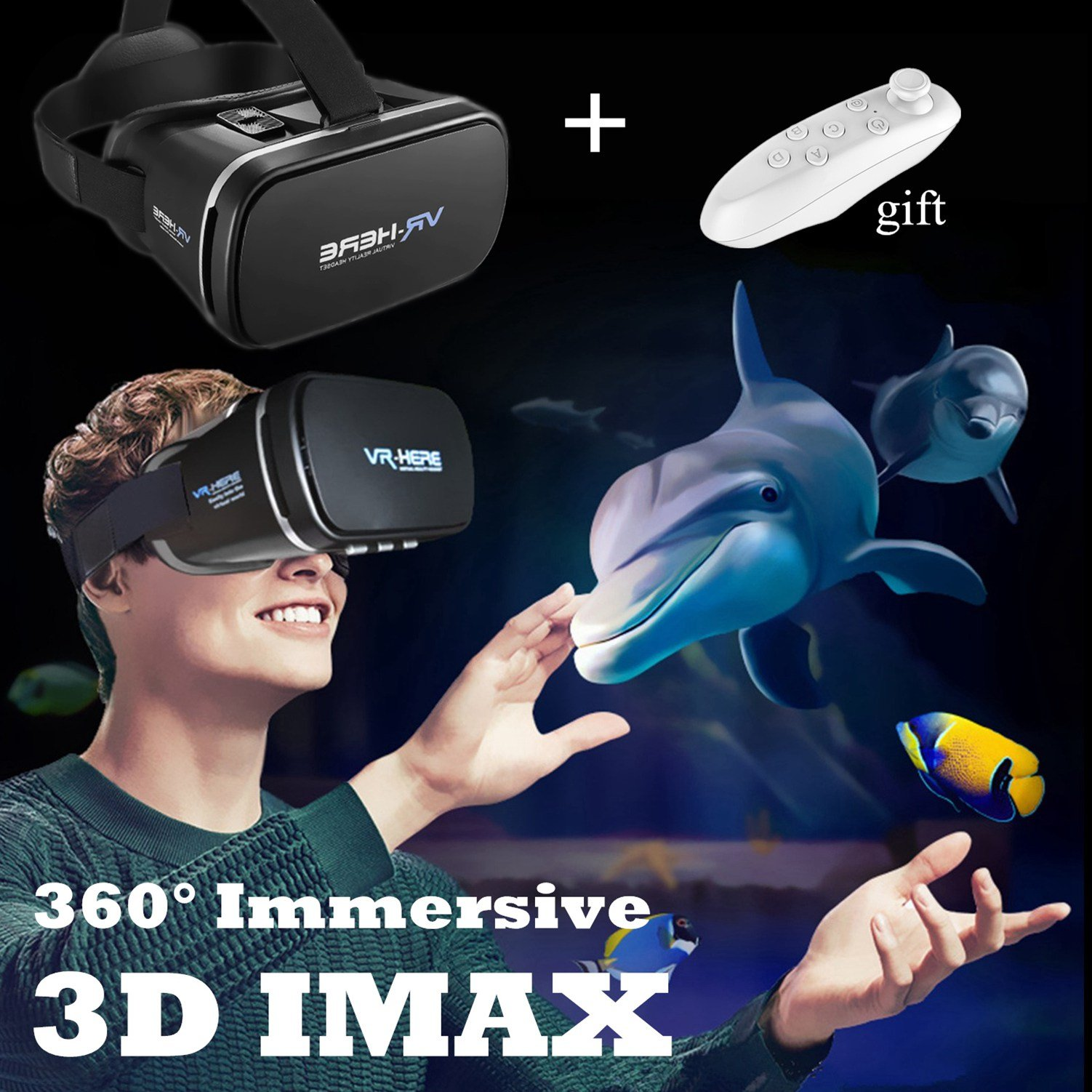 TSANGLIGHT 3D VR Headset with Remote New Virtual Reality Goggles, VR Glasses Movie Video Game Viewer for iPhone & Android 4.0-6.0'' Smartphones Like iPhone X 8 7 6 Plus Samsung S8 S7 S6 Edge, Black by TSANGLIGHT