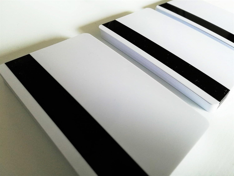Premium plastica carte bianco con striscia magnetica HiCo | 1–Confezione da 500pezzi | vergini bianchi per scheda stampante, nuovo. 85 x 54 x 0,76 mm bianco Kartenstudio