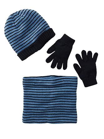 9e669d6a76d Vertbaudet Bonnet + snood + moufles ou gants Encre rayé 10 12 A ...