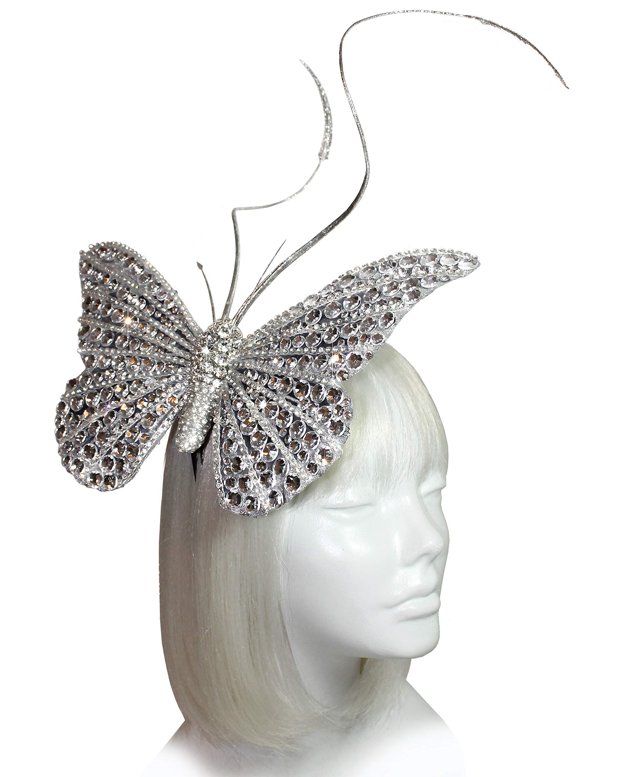 Mr. Song Millinery Papillon Profile Fascinator Headband AF59 (Silver)