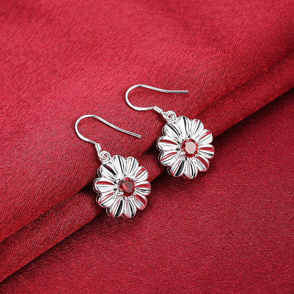 MXYZB Silver Plated Daisy Flower Dangle Earrings Red Cubic Zirconia Jewelry for Women Girls by MXYZB (Image #5)