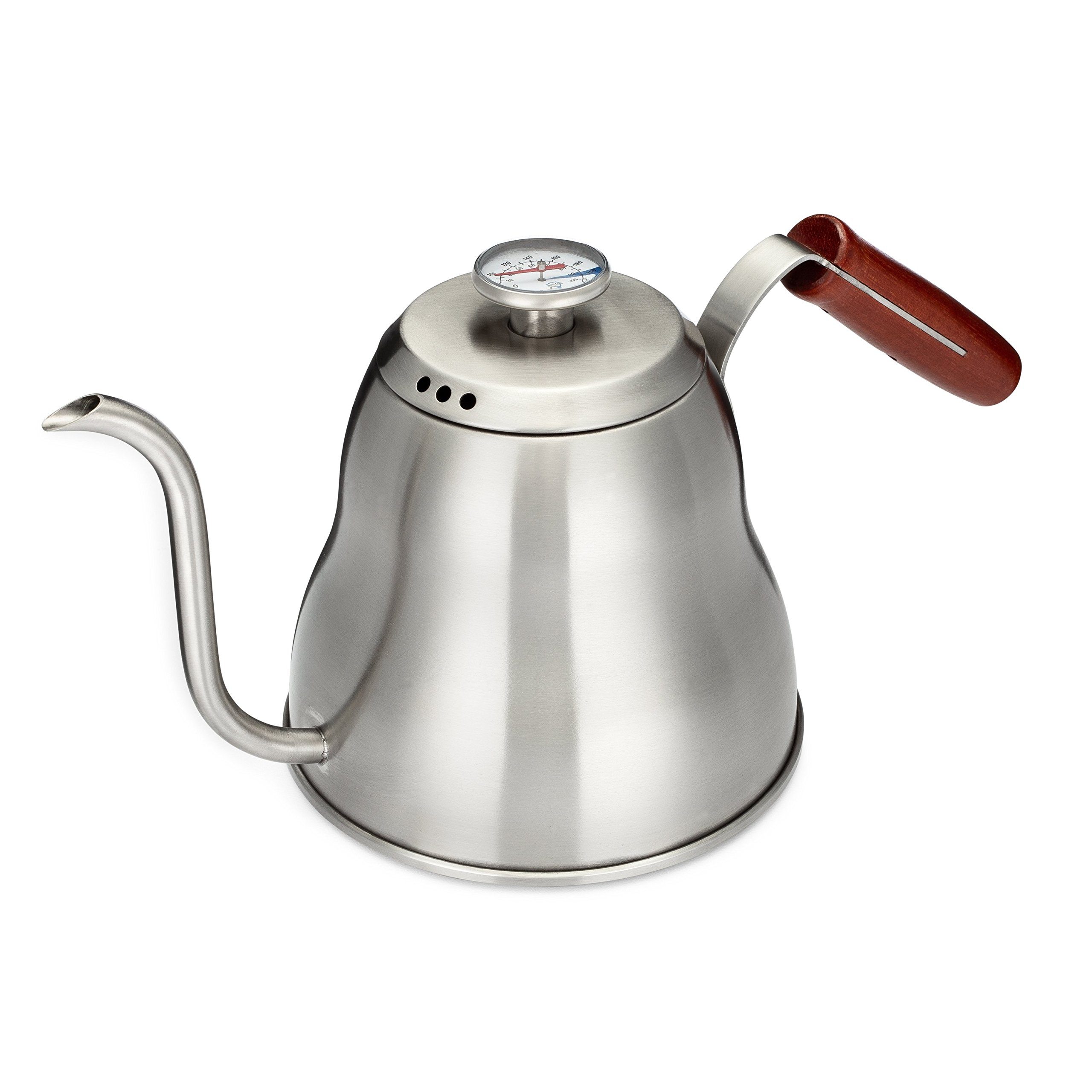 Java Shield Pour Over Kettle - Built-In Thermometer – 1.2 Liter/40floz Stainless Steel with Triple Layer Base – Gooseneck Spout for a Precision Pour (1.2 Liter/40floz)